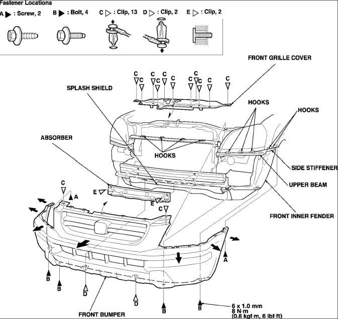 honda civic front bumper diagram
