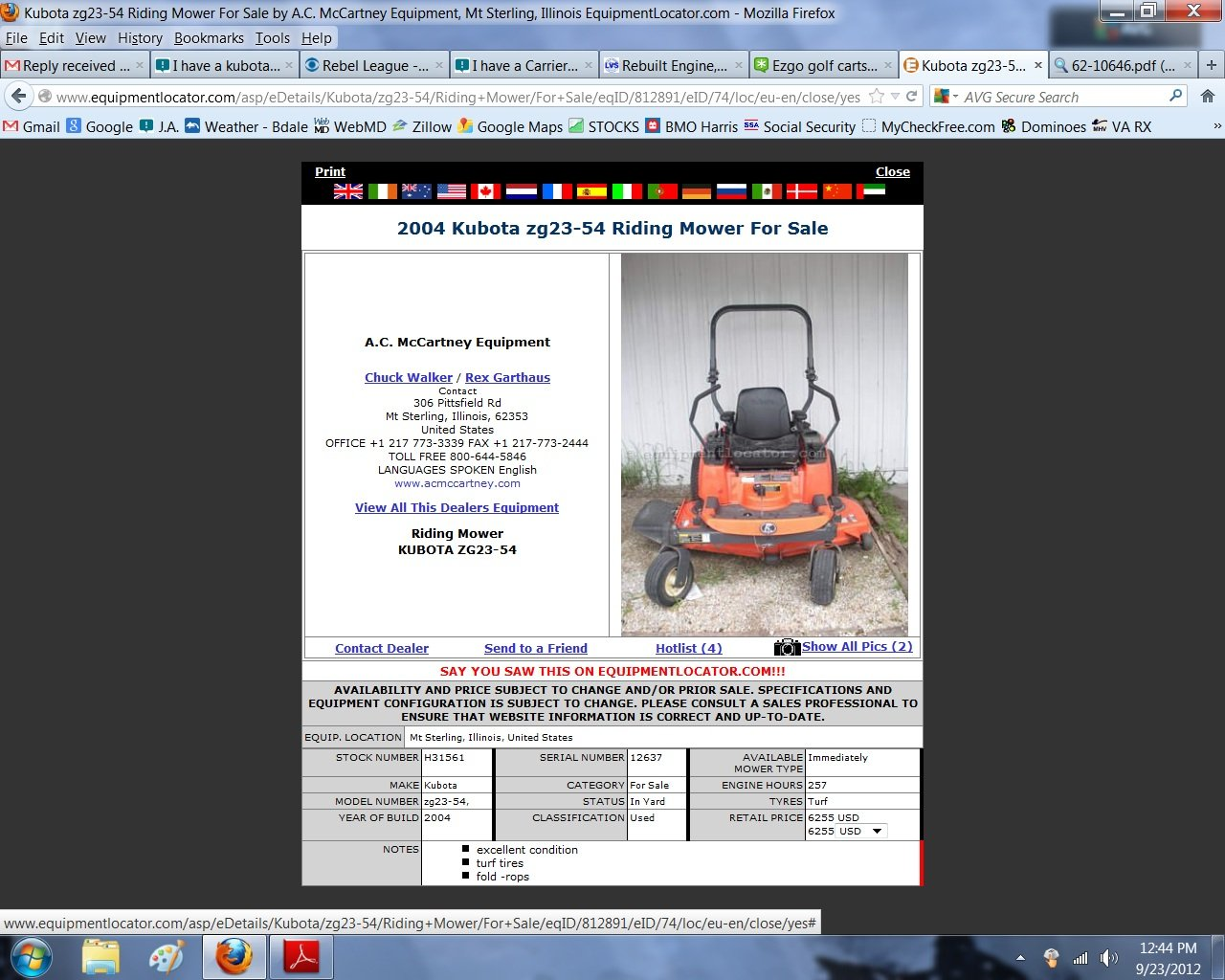 I have a kubota zero turn  I want to verify the date of manufacture
