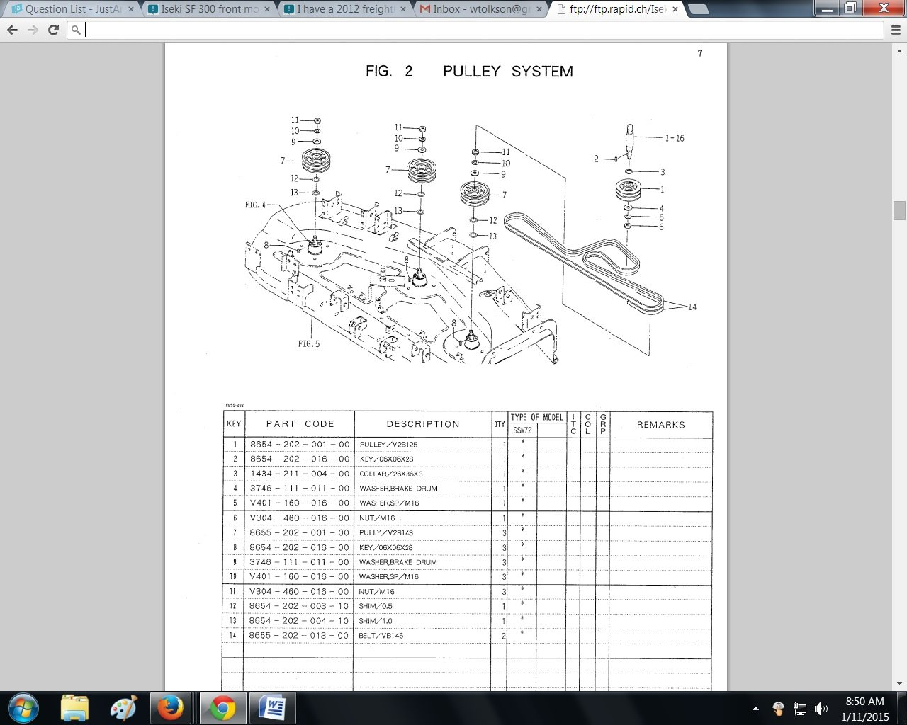 Iseki Engine Diagram Front Mower I Am Looking For The Size Of Belts 1280x1024
