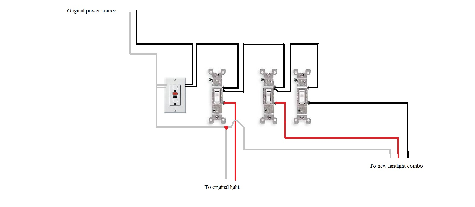 i have an existing bath switched wall light and gfi outlet
