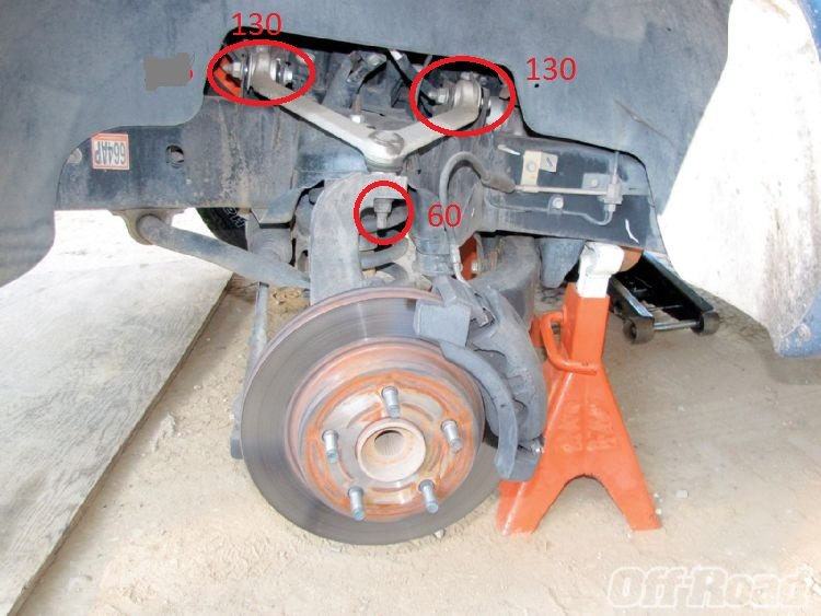 What are the torque specs for the upper and lower ball joints  tie rod ends  and upper controls