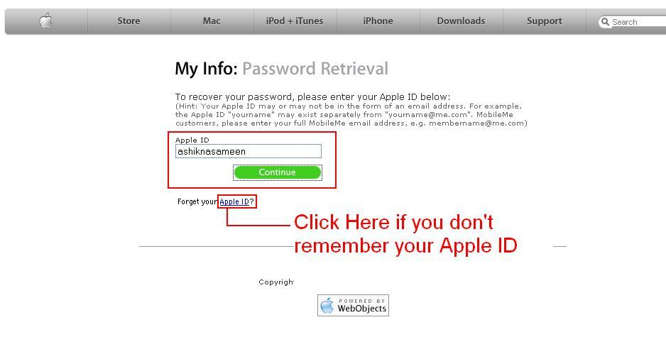 reset apple password with alternate email