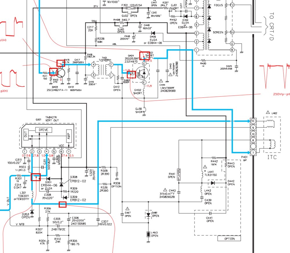 i have a toshiba crt tv model 36a50 i have no picture, only a thin tv  circuit diagram toshiba tv crt schematic diagram