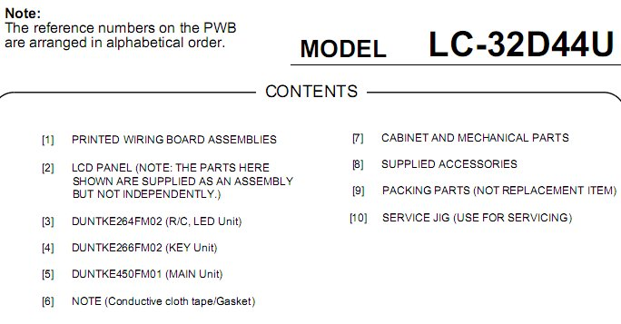 sharp liquid crystal tv model number lc 70c6600u service manual