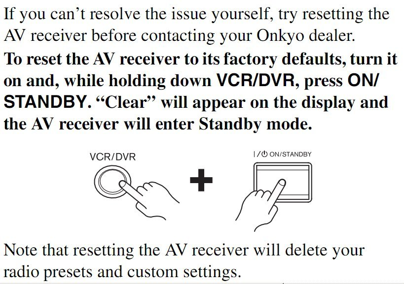 I have an Onkyo TX-NR808 AV receiver and am encountering a