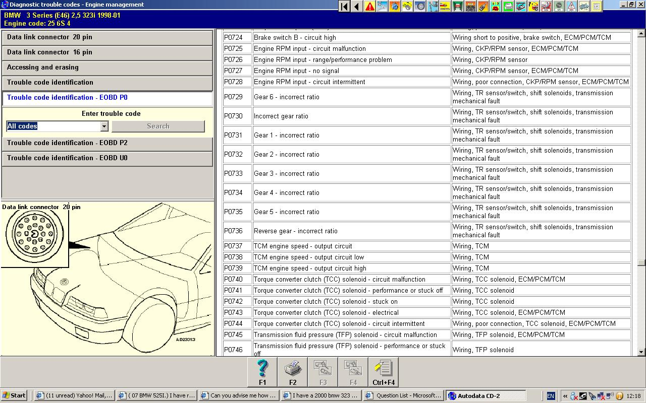 I Have A 2000 Bmw 323i And Need The Transmission Code Chart For Fault Graphic