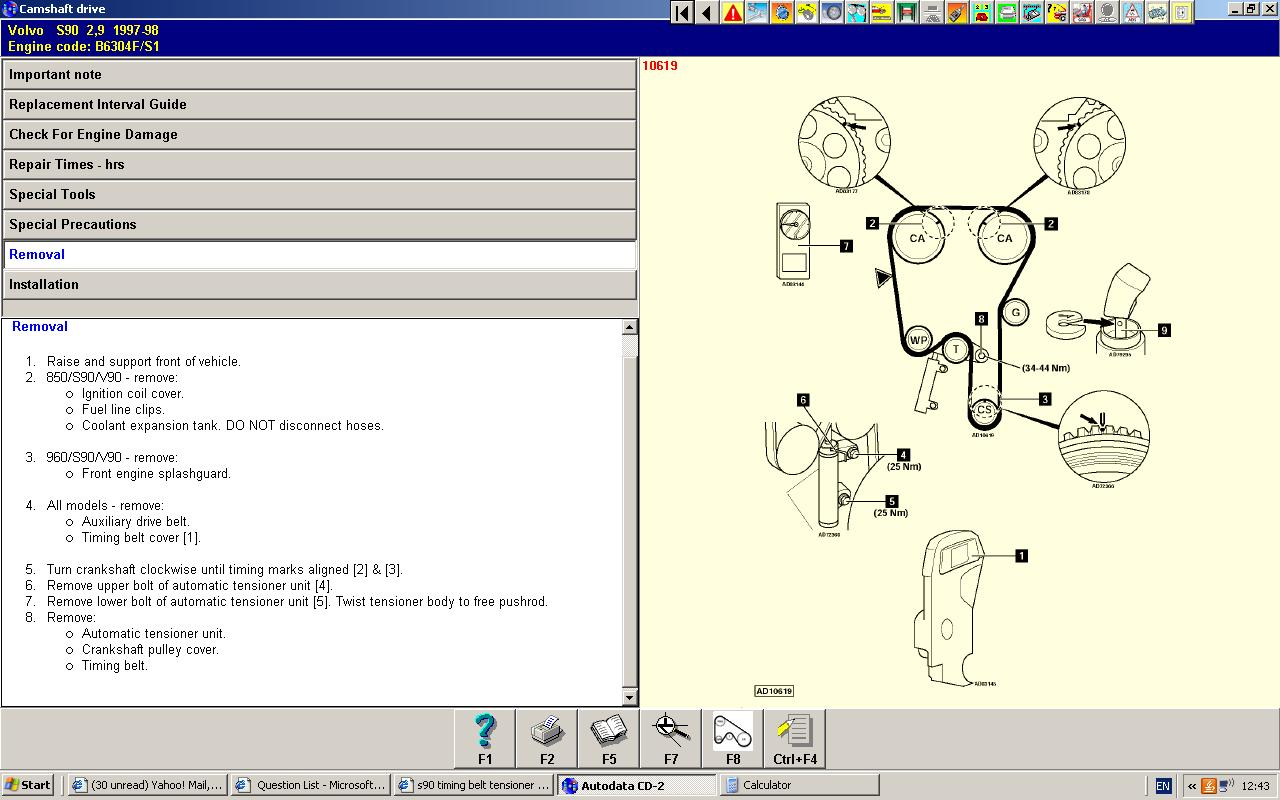 S90 Timing Belt Tensioner Pulley Disintegrated Engine Will Not Idle Jetta 2 0 Hoses Diagram Graphic
