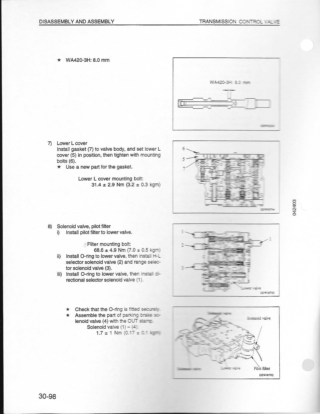 1998 Komatsu WA420H30383 Loading shovel Model 420 -3h FAULT