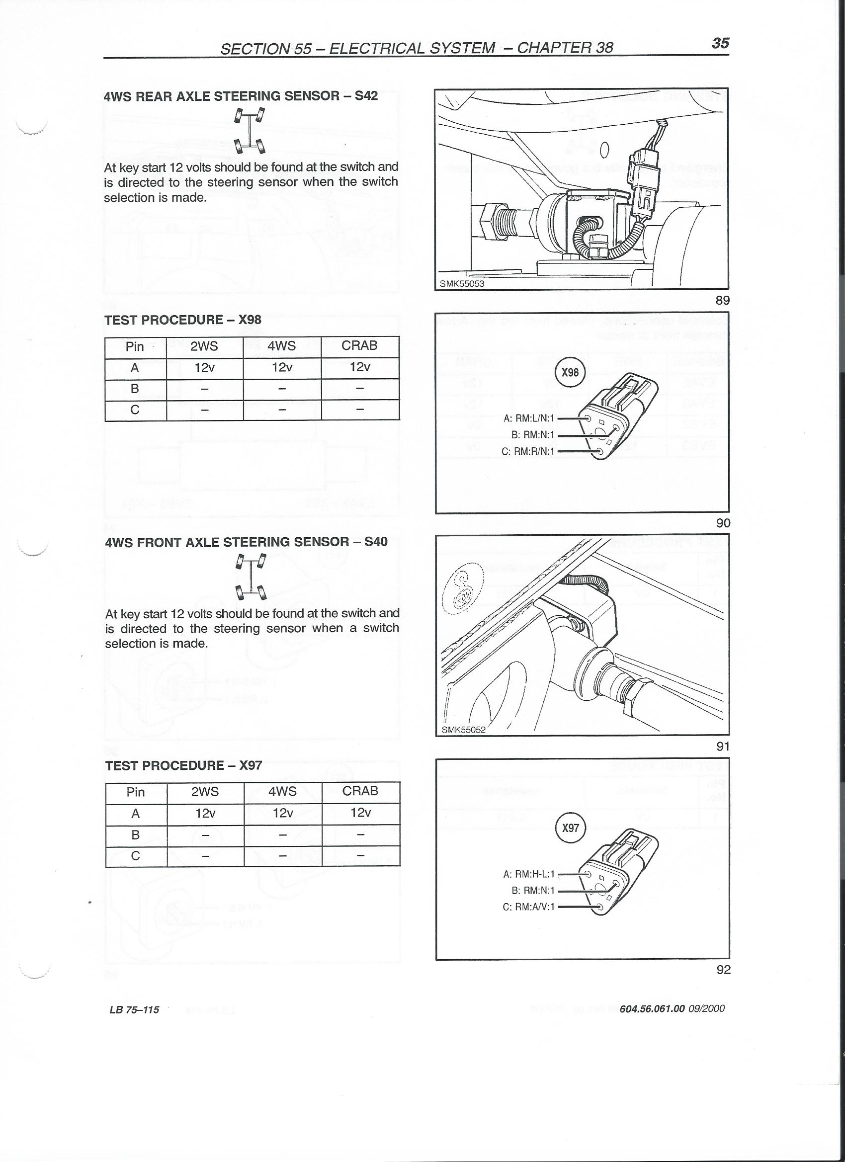 I have a 1999 new holland lb 115. 4 wheel steer will not ... New Holland Lb B Wiring Diagram on