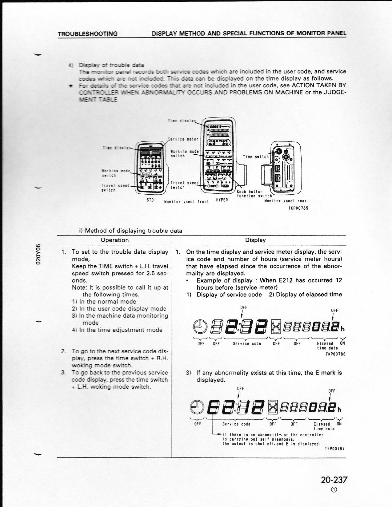 what error code e 02 means from a pc 200 6 komatsu monitor panel rh justanswer com