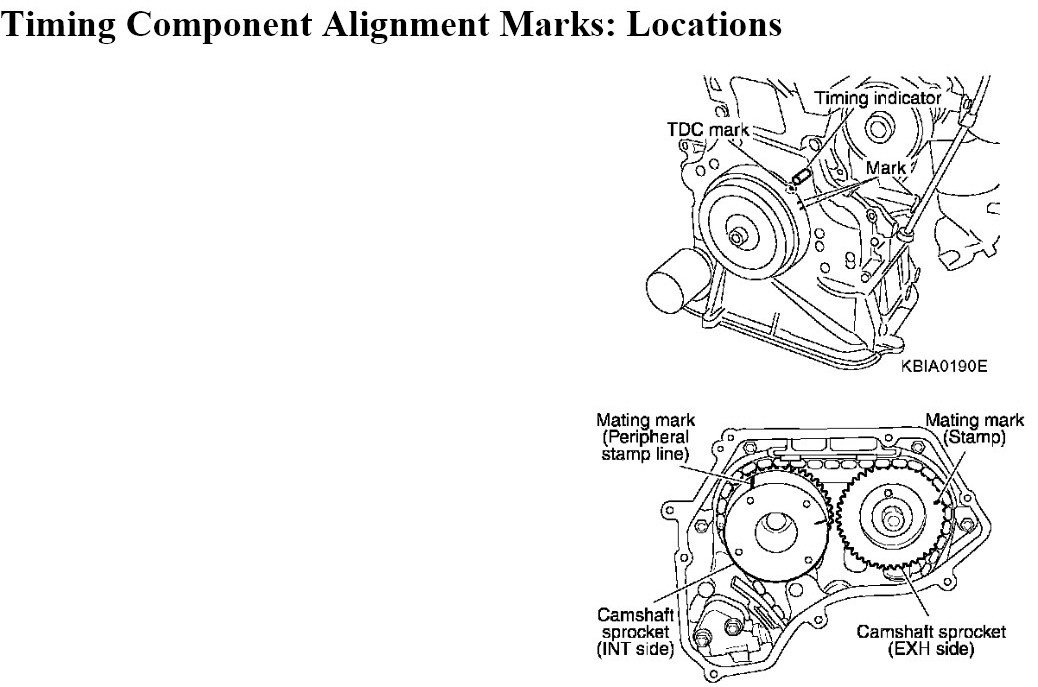 service manual  2007 nissan quest timing chain marks