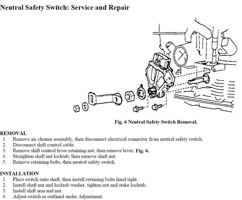 How To Replace The Neutral Safety Switch