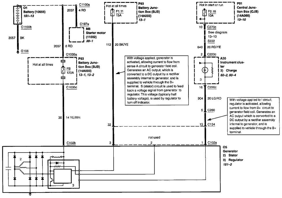 2009 12 08_141826_charge_0000 the 2002 ford escape v6 wiring diagram for the charging system Ford 3 Wire Alternator Diagram at alyssarenee.co