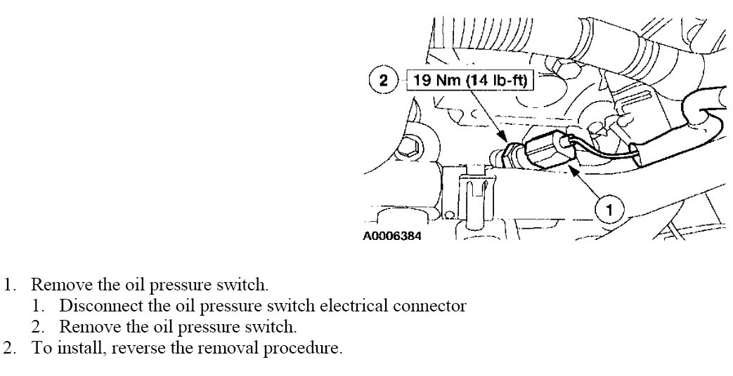 Where Is Oil Pressure Switch For 2000 Ford Taurus