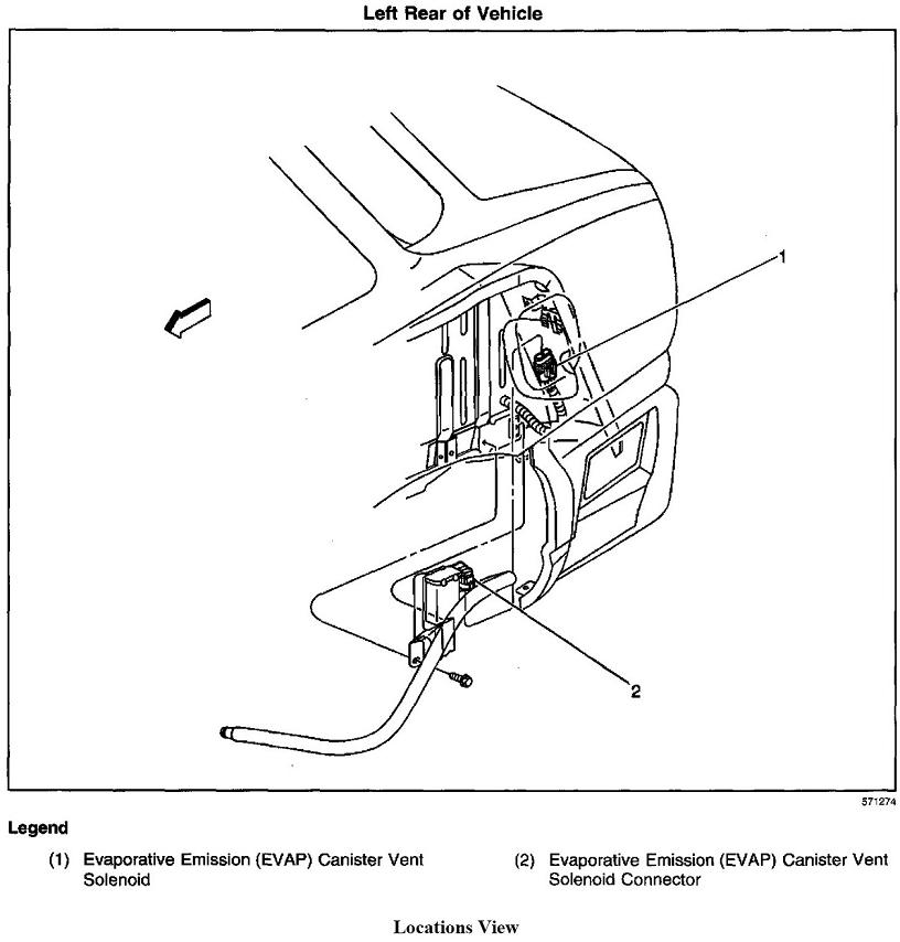 where is the vent valve solenoide located on the fuel sys