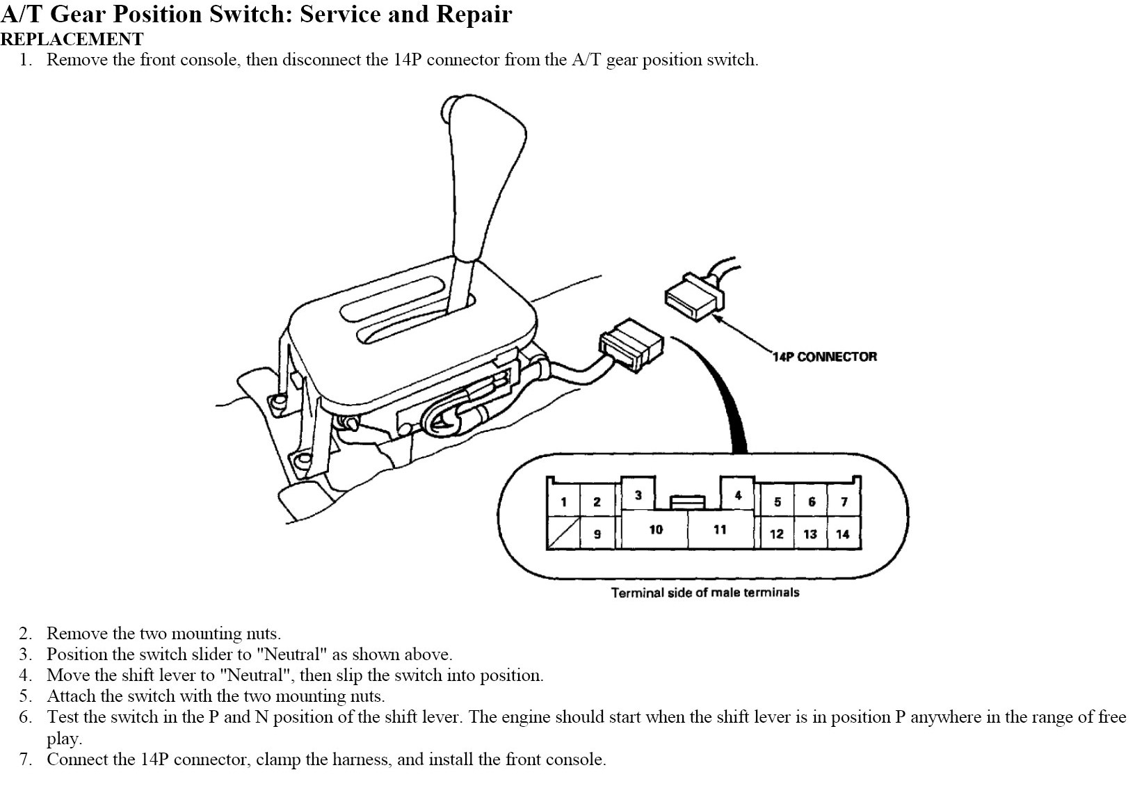 Honda Civic 1998 Transmission Range Circuit Switch Replacement 98 Wiring Diagram 02 Sensor Graphic