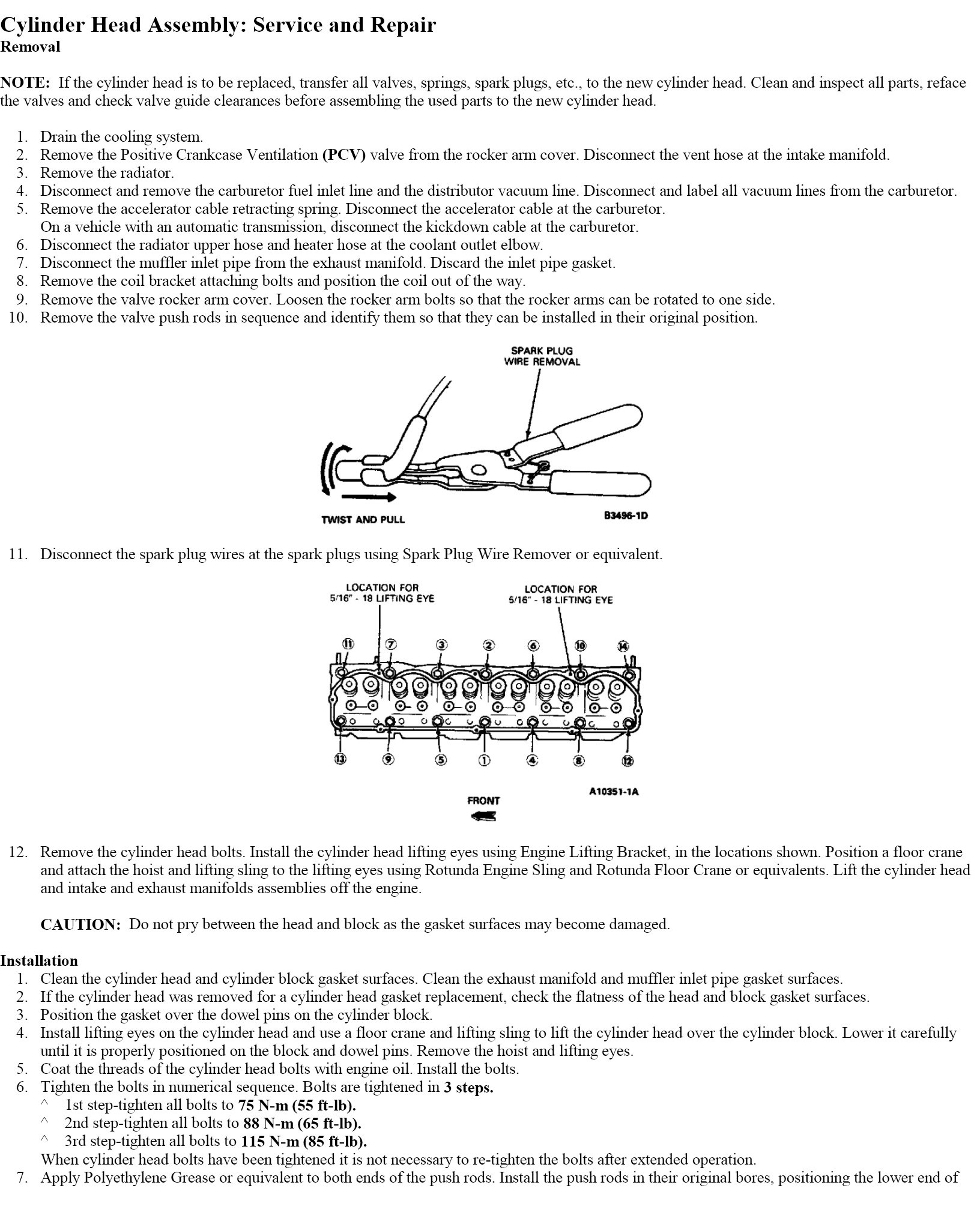 Torque specs and tightening sequence for 1983 Ford f250 300-6 engine