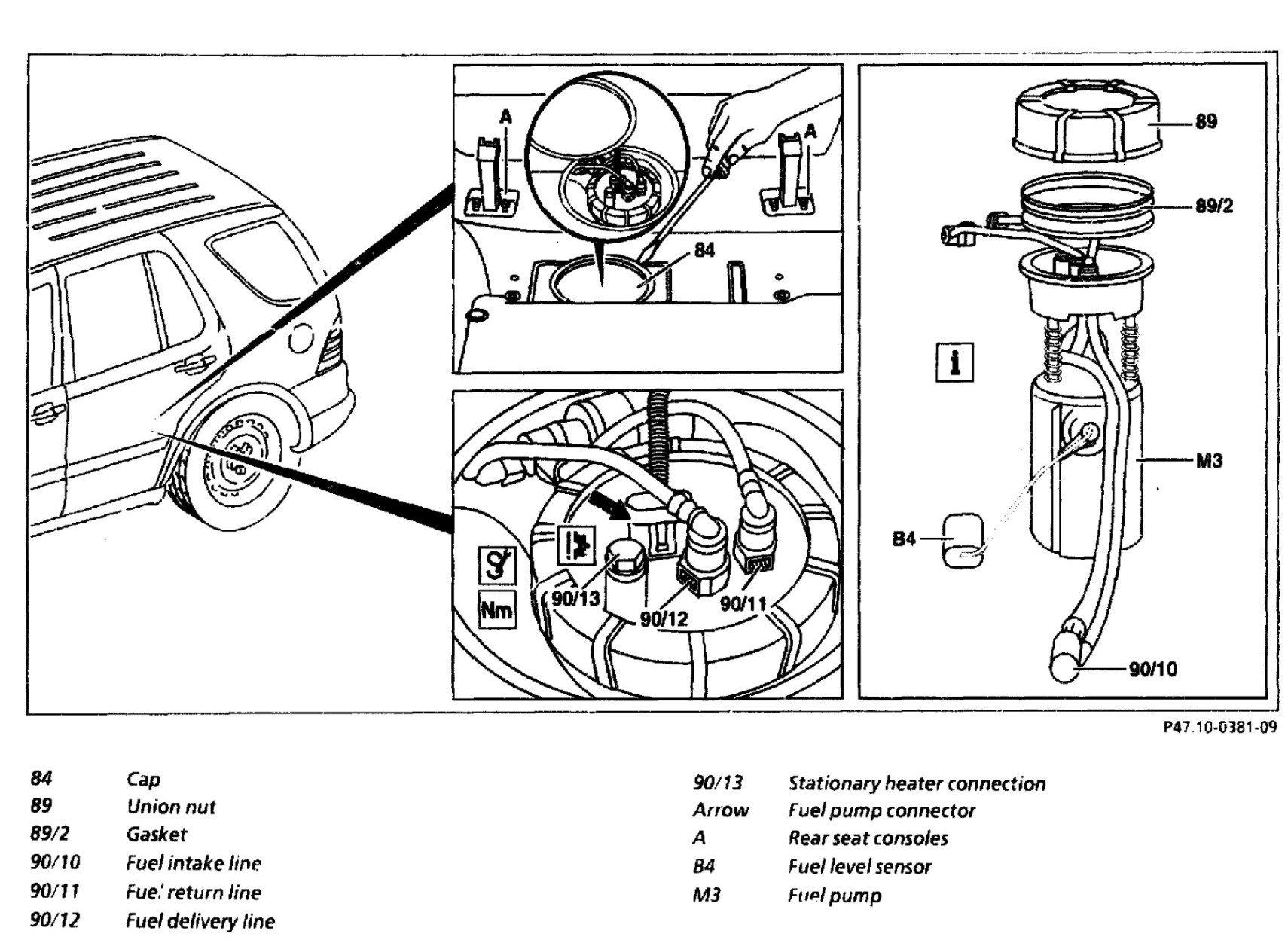 how do i access the fuel pump on a mercedes ml320. Black Bedroom Furniture Sets. Home Design Ideas