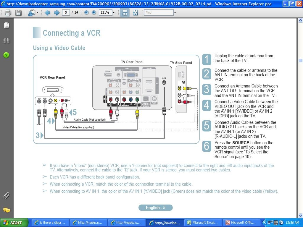Is there a diagram for hooking up a cable box,, tivo, a vcr and a ...