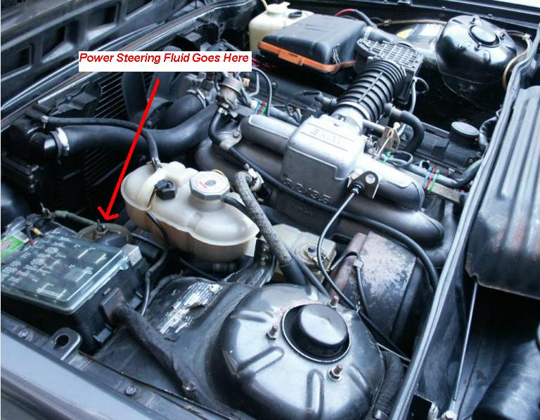 where is the power steering fluid fill point on a 1982 bmw 635 csi coupe power steering fluid fill point