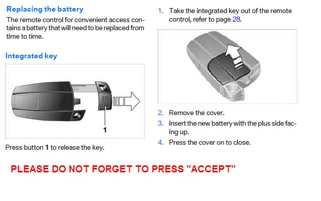 2007 BMW Key remote openunlockdrivenbattery replacement