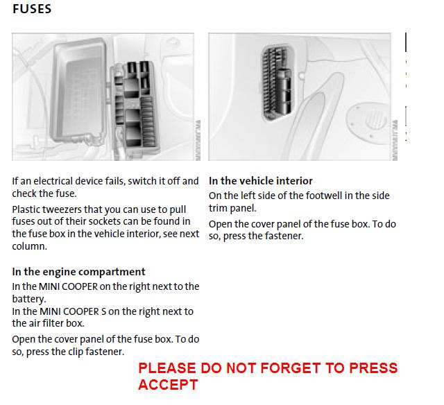 Which Fuse Is For The Elecronic Power Steering Pump On A 2006 Mini S. Mini Cooper. 2012 Mini Cooper Fuse Box At Eloancard.info