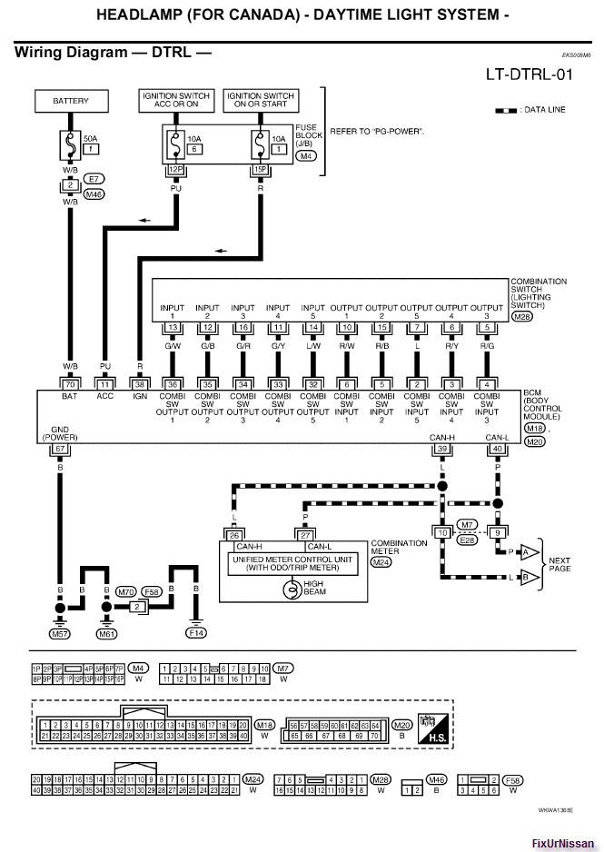 2009 12 25_163227_05_Altima_Head_light_wiring_Diagram_with_DTRL_1 2007 nissan altima window wiring diagram wiring diagram and Nissan Altima Serpentine Belt Replacement at edmiracle.co