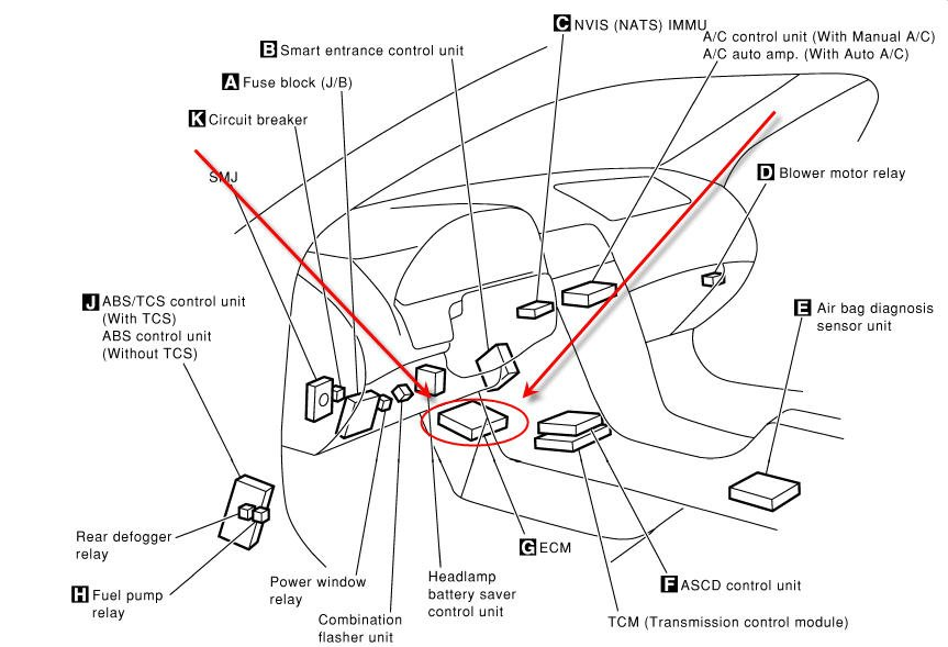 WHERE IS THE ECU LOCATES ON A NISSAN MAXIMA 2001 on