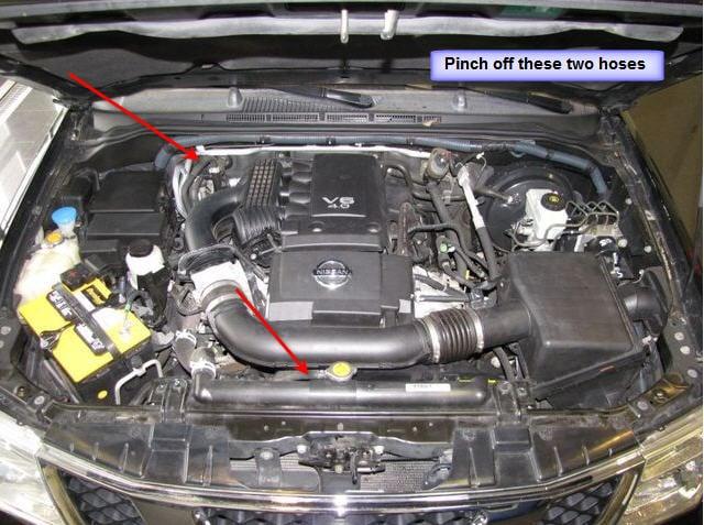 2010 11 30_031628_bleed_coolant_4_liter 06 nissan pathfinder, 150k, heater works intermitantly, sometimes Checking Transmission Fluid 2006 Pathfinder at sewacar.co