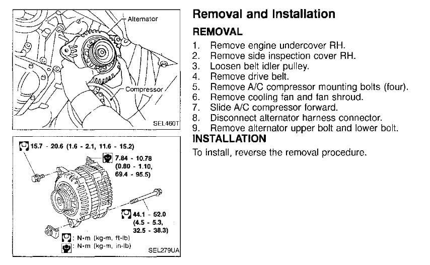 1999 infiniti i30 alternator replacement