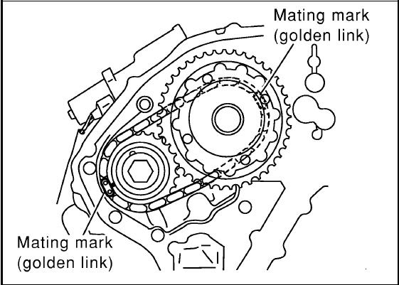 timing gears has no paint just 2 dots and 2 lines chain