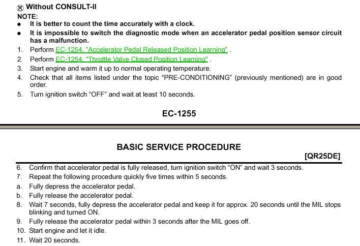 2002 altima gas pedal arent workingrelearn proceduresmy vehicle