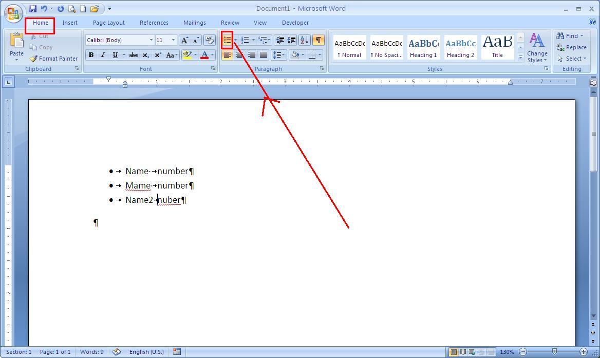 how to put dots in word