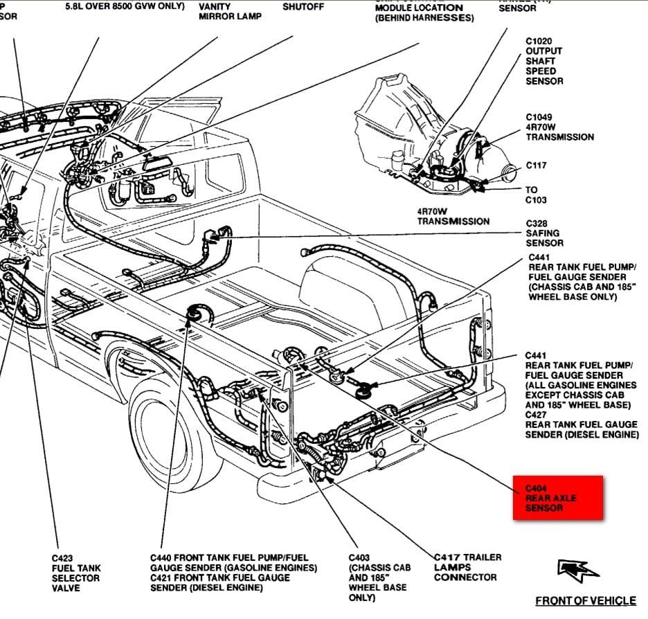 location of speed sensor 1995 f250