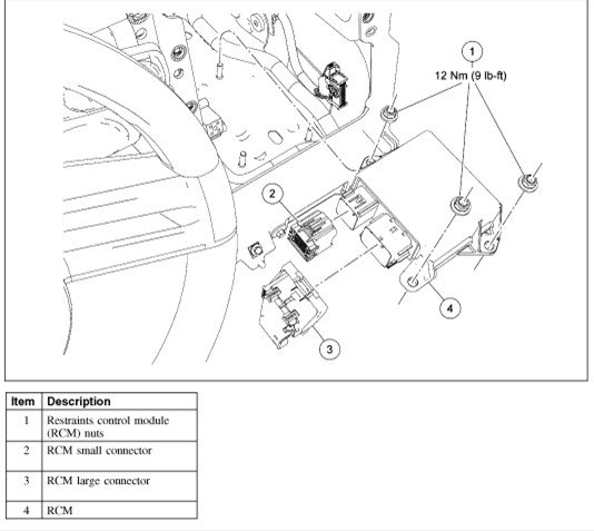 ford airbag control module location