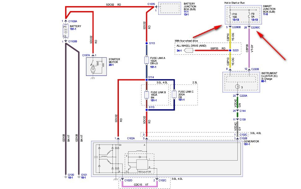 2011 01 13_140212_a1 2007 ford ranger 4 0l not charging w new alternator,the two red ford smart charge wiring diagram at pacquiaovsvargaslive.co