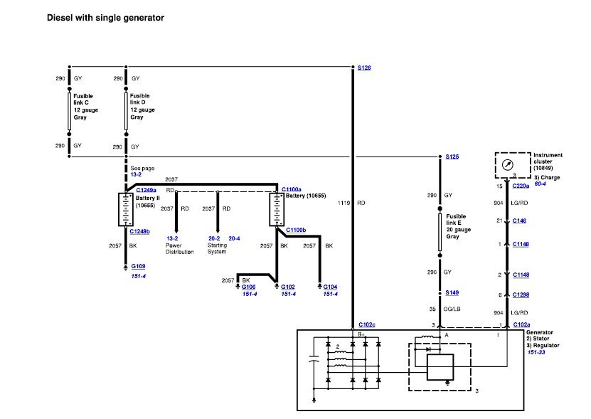 2000 ford f 250 alternator wiring diagram ford f250 charging circuit wiring diagram