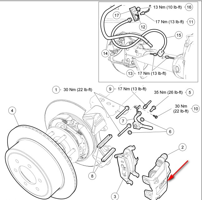 2008 ford f 150  changing  rear brakes  the two bolts hold the caliper