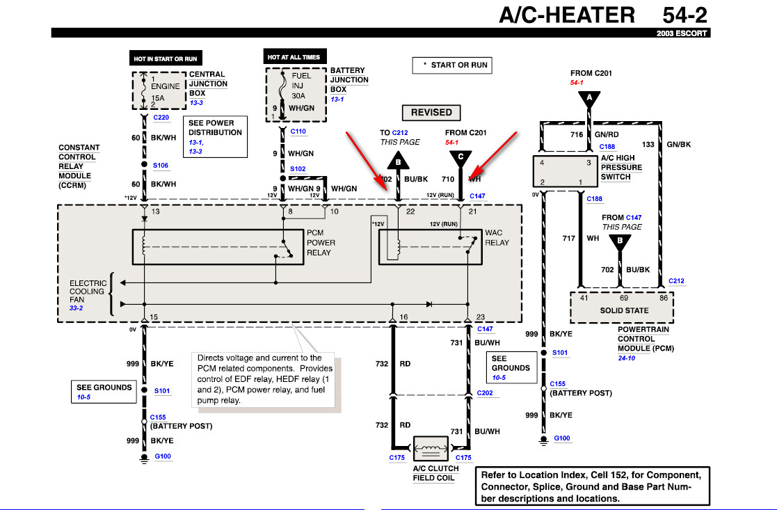 where are all the a  c switches and relays located on a
