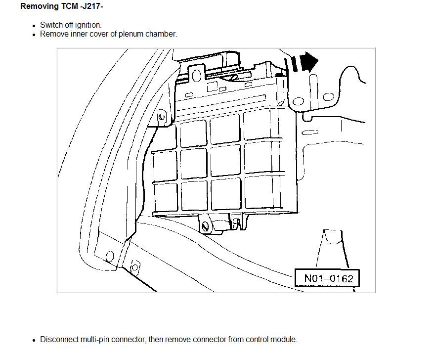 locate transmission control module on 2003 vw bug