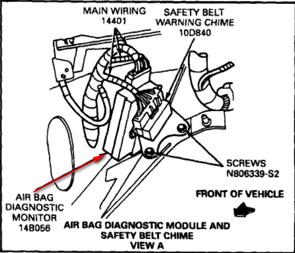 1995 ford aerostar minivan airbag system failed  flashes
