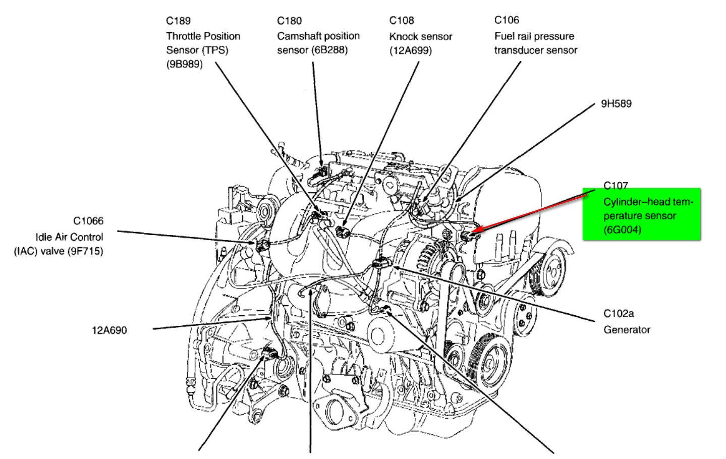 6m5o3 Ford Focus Se Temperature Sensor Sends as well Series 60 Engine Oil Temperature Sensor also 2001 Buick Lesabre Cooling System Diagram together with 38k3b Can T Find Location Cooling Fan Switch 1992 together with Discussion C178 ds557781. on engine coolant temperature sensor location