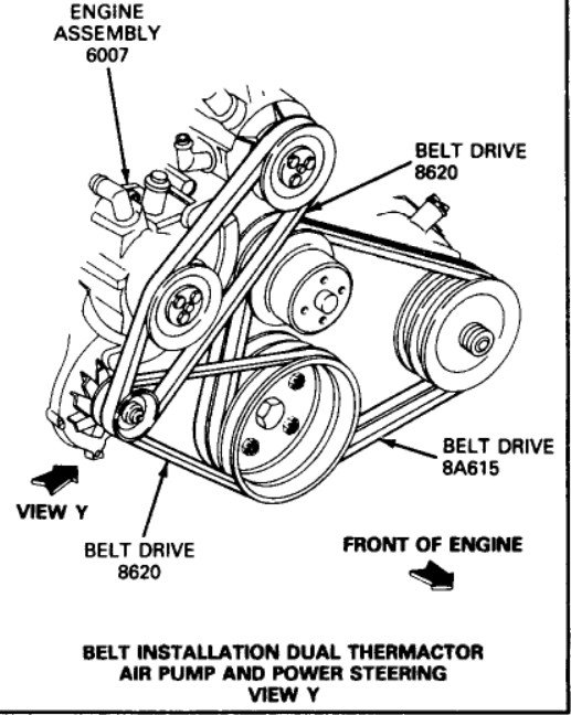 I Need A Engine Belt Drawing For A E350  460 Cid In A 1987