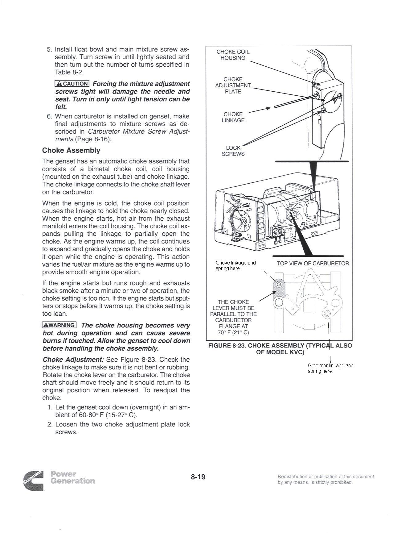 Problems with an Onan 2 8KVFA26100K generator  Upon startup