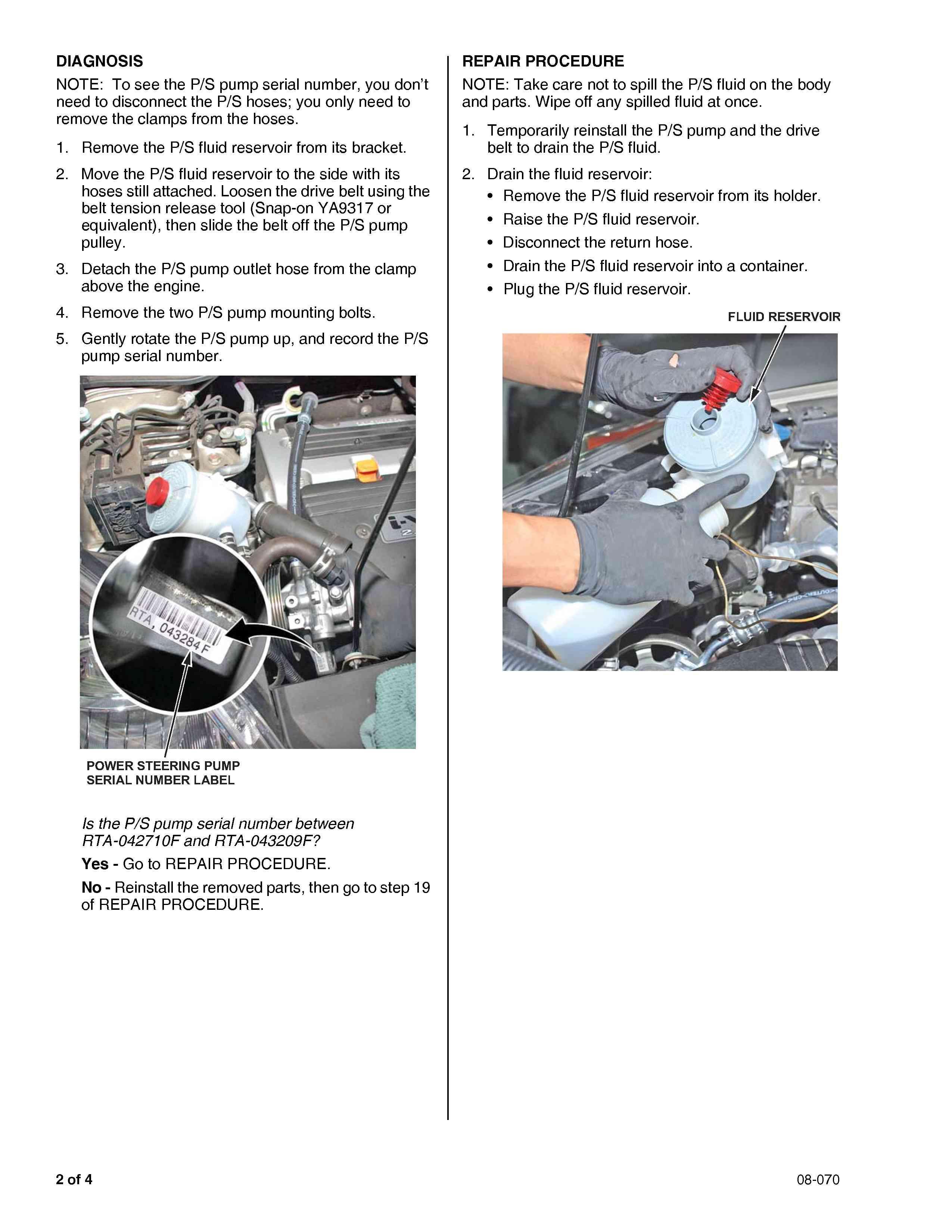 honda crv   idling    whinning noise  checked  power steering