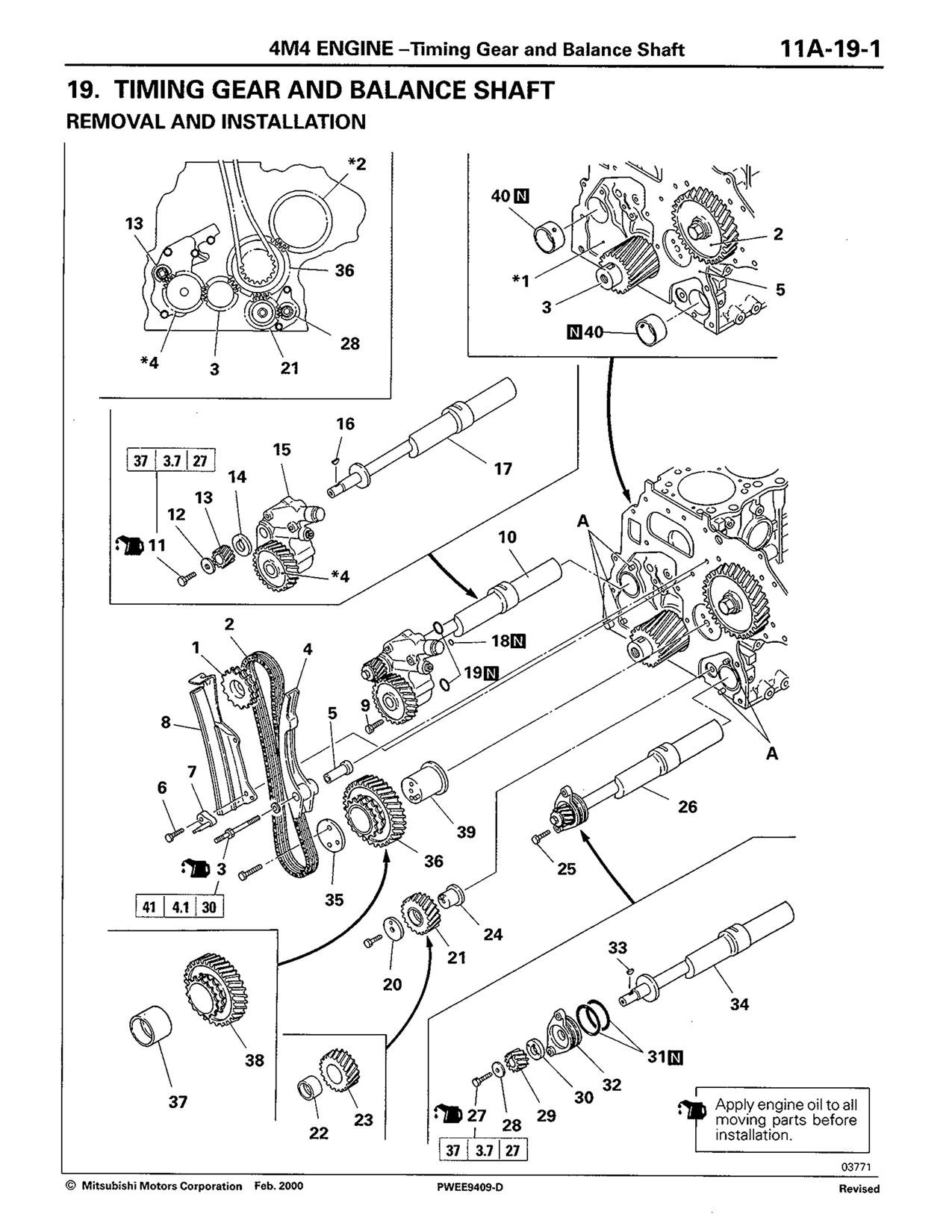 Please advise timing marks for injector pump on 4M40 Mitsubishi