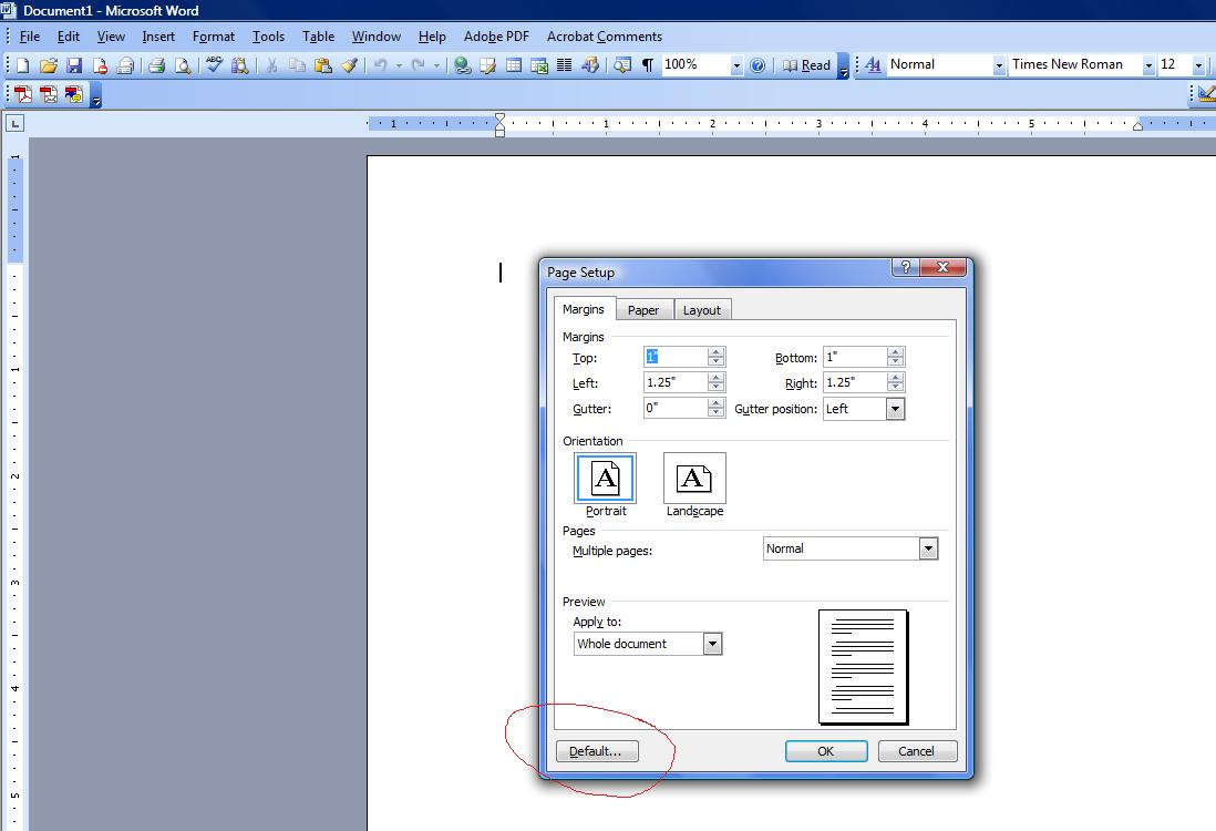 Default page setup in word 2003 — photo 1