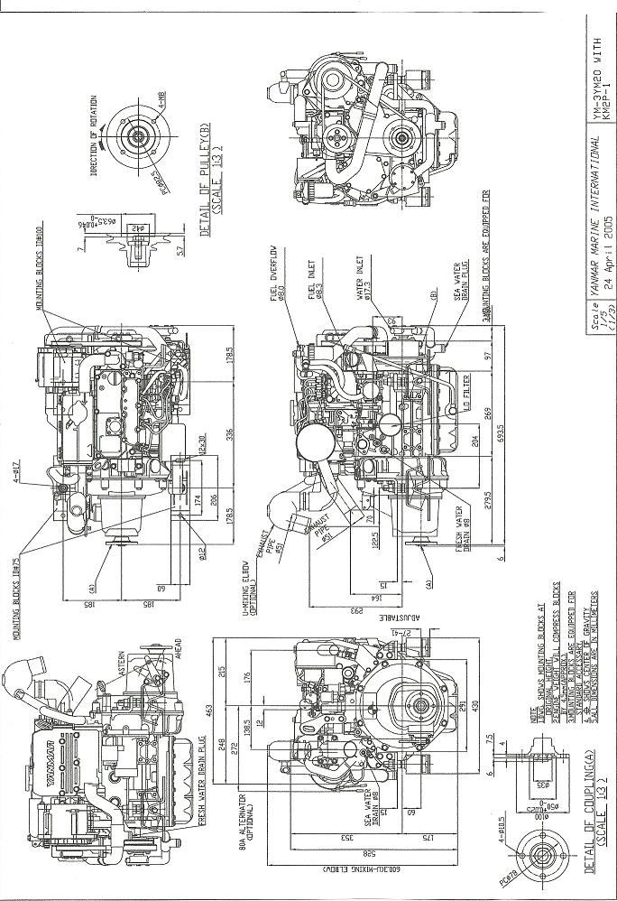 i have a yanmar 2gm20 what is the distance beteen the