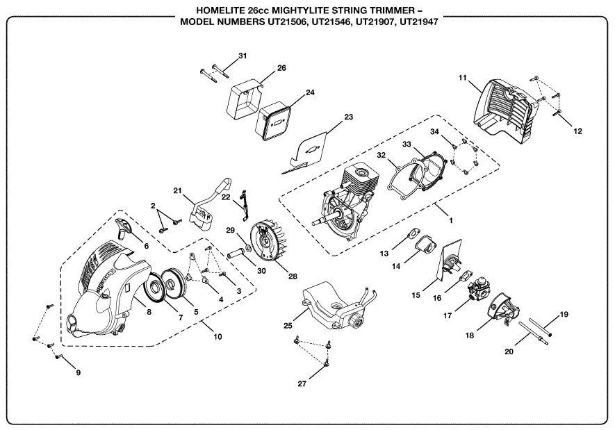 Pull String Replacement For Homelite Mightylite 26cs. Wiring. Homelite 26b Parts Diagram At Scoala.co