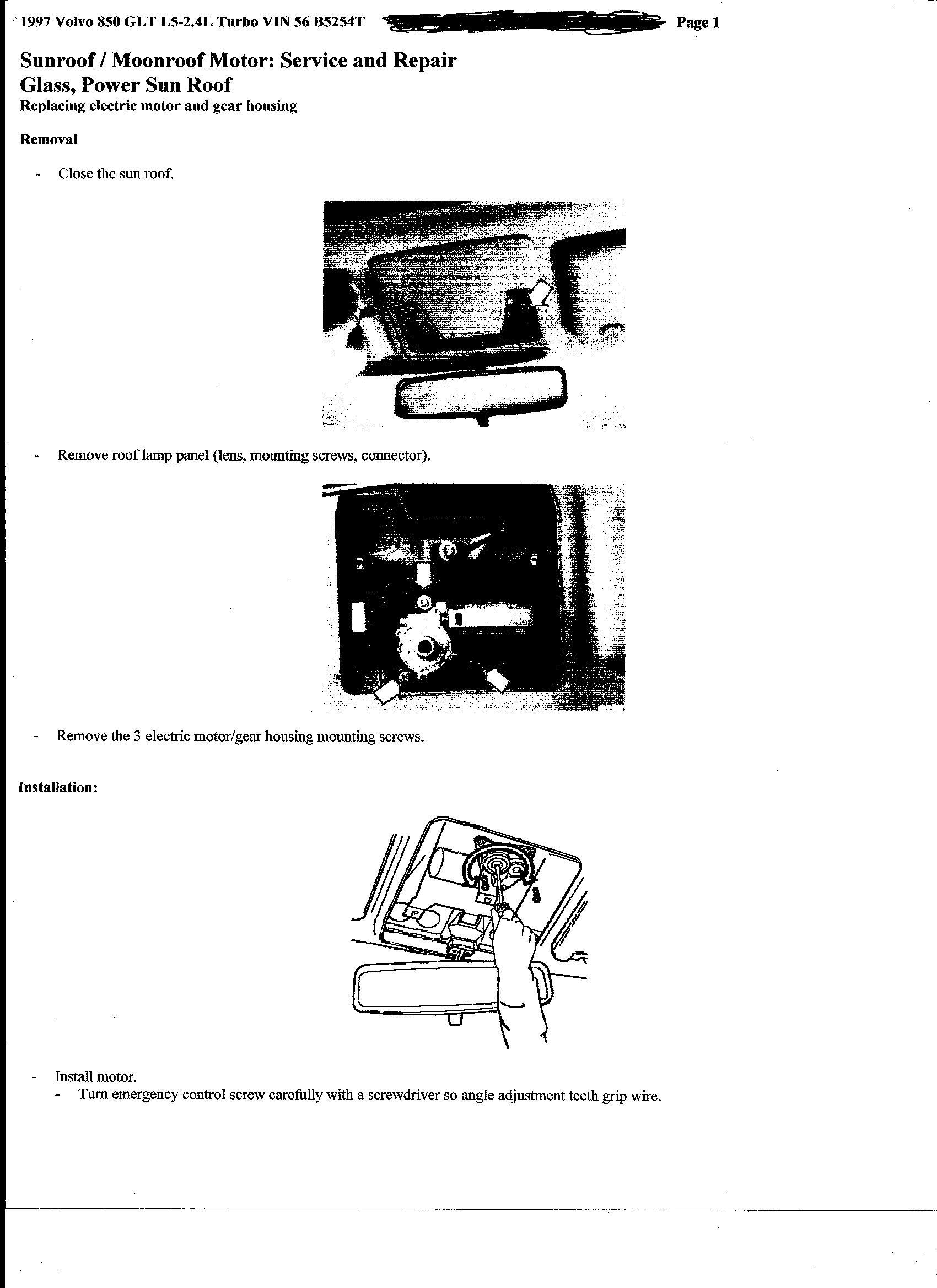 2003 volvo s60 manual close sunroof